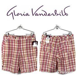 NWT GLORIA VANDERBILT Plaid Board Shorts Sz 14 $34